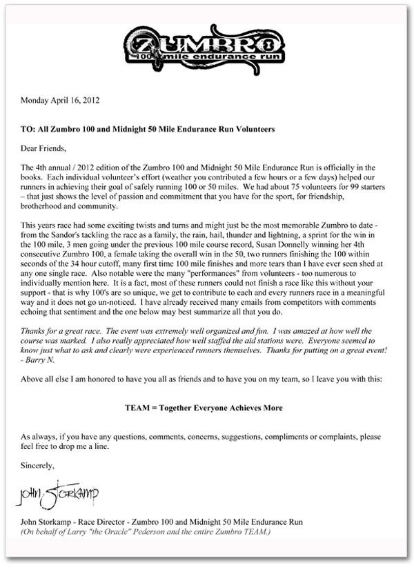 2012 Volunteer Thank You Letter | Zumbro Endurance Run