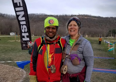 2016 Last Two Finishers 100 Miler Sreedharan Surendran and 50 Miler Sally Hulbert - Photo Credit John Storkamp