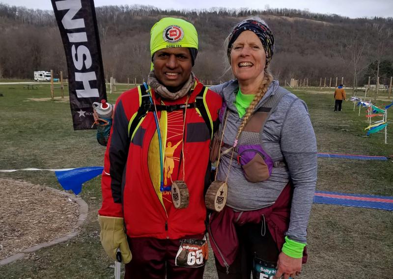 2016 Last Two Finishers 100 Miler Sreedharan Surendran and 50 Miler Sally Hulbert - Photo Credit John Storkamp